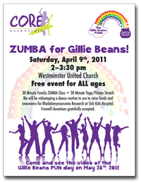 Zumba for Gillie Beans event. Raising funds for Rhabdomyosarcoma research. Finding a cure, one jelly bean at a time!